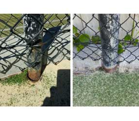 Chain-Link Fence Line Post Rust
